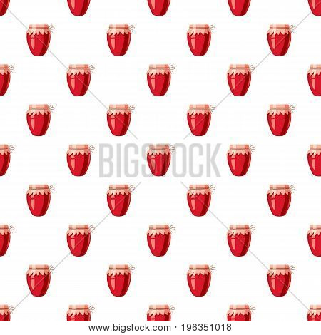 Strawberry jam glass jar in cartoon style isolated on white background vector illustration