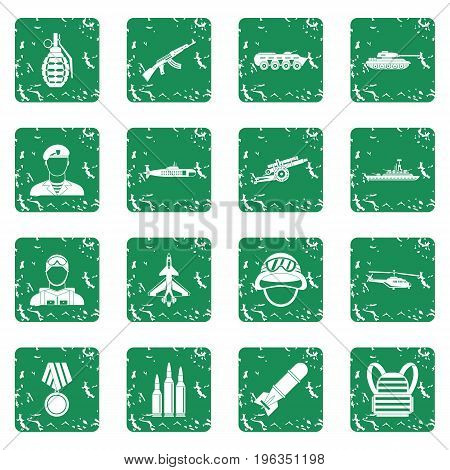 War icons set in grunge style green isolated vector illustration