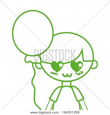 silhouette cute boy with balloon and hairstyle design vector illustration