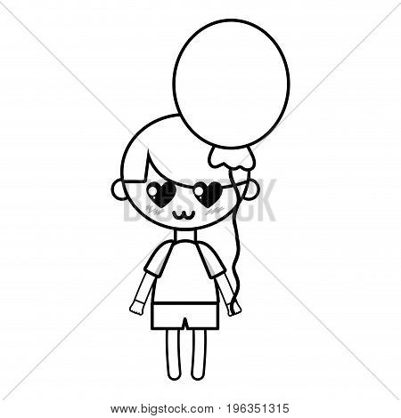 line cute boy with balloon and hairstyle design vector illustration