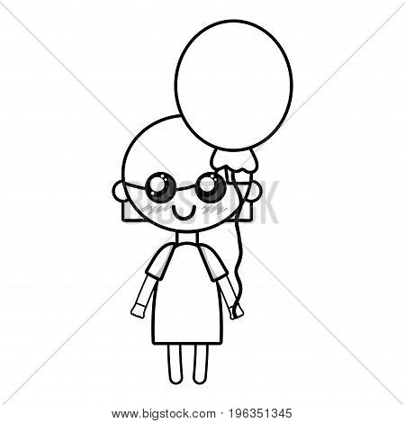 line beauty girl with balloon and hairstyle design vector illustration