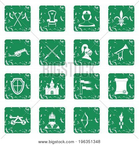 Knight medieval icons set in grunge style green isolated vector illustration