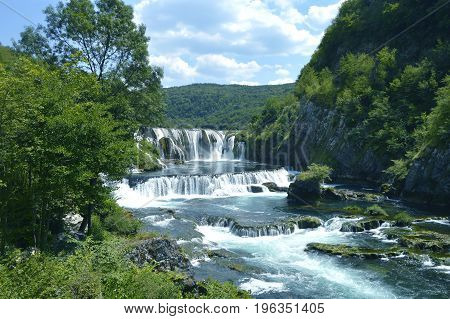 Waterfall - strbacki buk near Bihac,in Bosnia and Herzegovina