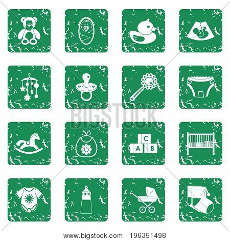 Newborn icons set in grunge style green isolated vector illustration