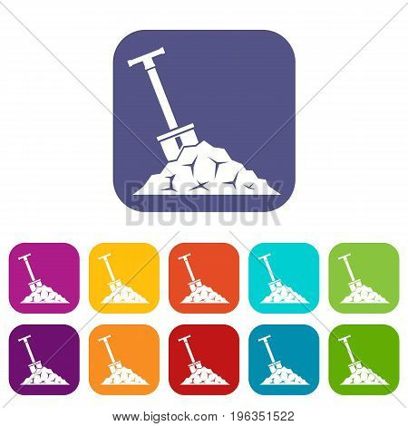 Shovel in coal icons set vector illustration in flat style in colors red, blue, green, and other