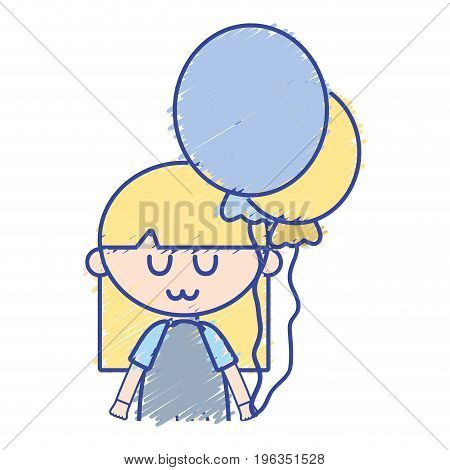 beauty girl with balloons and hairstyle design vector illustration