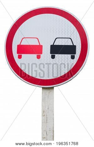 No overtaking road sign isolated on white