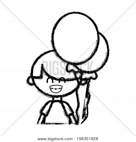 figure cute boy with balloons and hairstyle design vector illustration