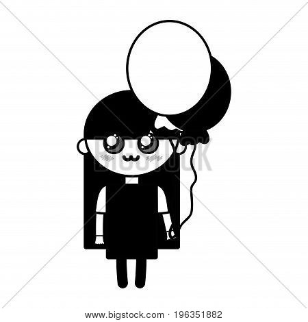 contour beauty girl with balloons and hairstyle design vector illustration