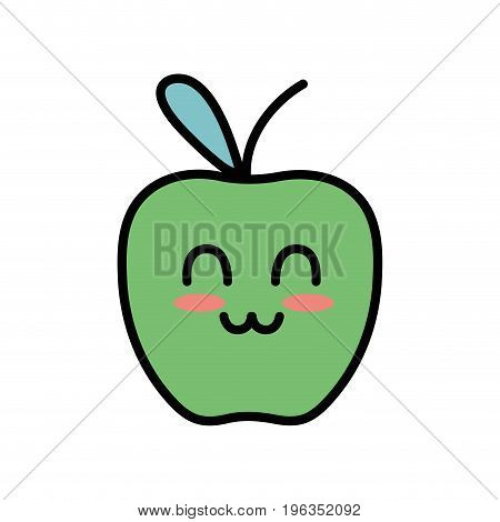 kawaii cute happy apple fruit vector illustration