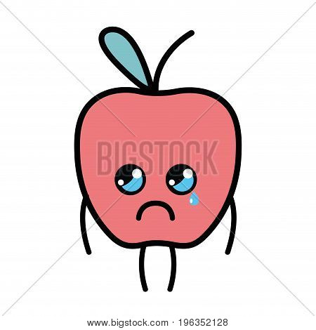 kawaii cute crying apple fruit vector illustration