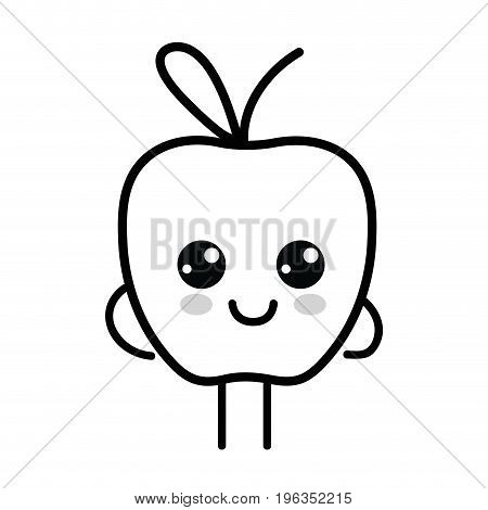 line kawaii cute happy apple fruit vector illustration
