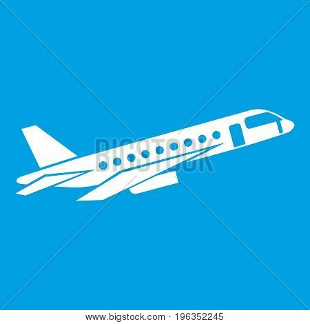 Airplane taking off icon white isolated on blue background vector illustration