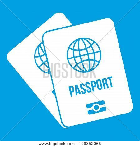 Passports with map icon white isolated on blue background vector illustration