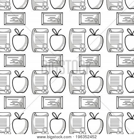 diploma and certicate graduation with apple fruit background vector illustration