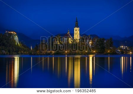 Lake Bled at the blue hour - Slovenia