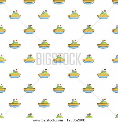 Colorful toy ship pattern seamless repeat in cartoon style vector illustration