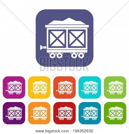 Cart on wheels with gold icons set vector illustration in flat style in colors red, blue, green, and other