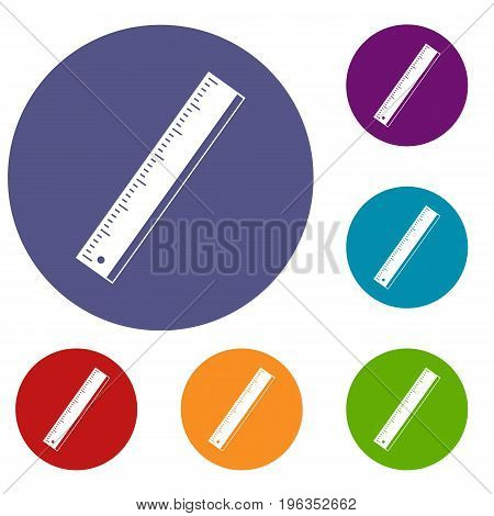 Yardstick icons set in flat circle red, blue and green color for web