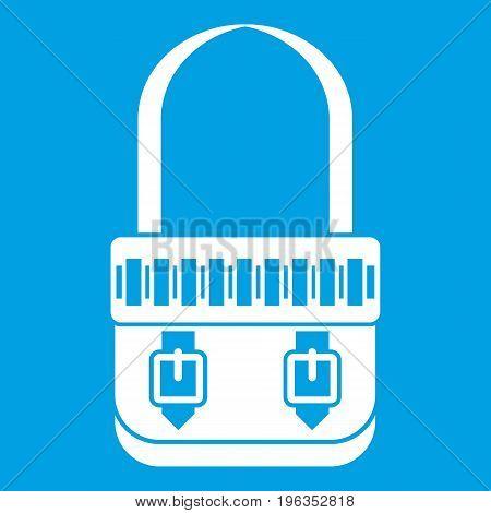 Shoulder bag icon white isolated on blue background vector illustration