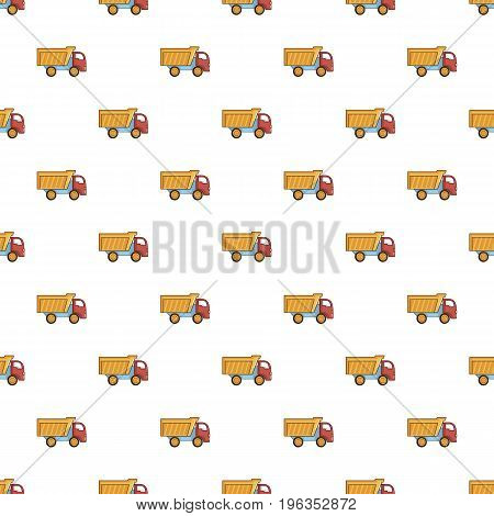 Toy truck pattern seamless repeat in cartoon style vector illustration
