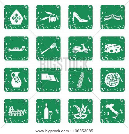 Russia icons set in grunge style green isolated vector illustration
