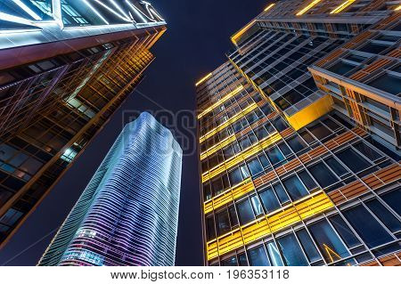 Skyscrapers from a low angle view at night in ShanghaiChina.