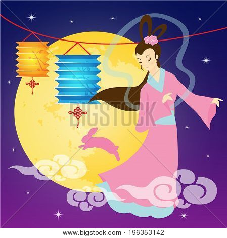 Mid-autumn festival illustration of Chang'e (moon goddess), lantern & full moon. Caption: Mid-autumn festival, 15th august