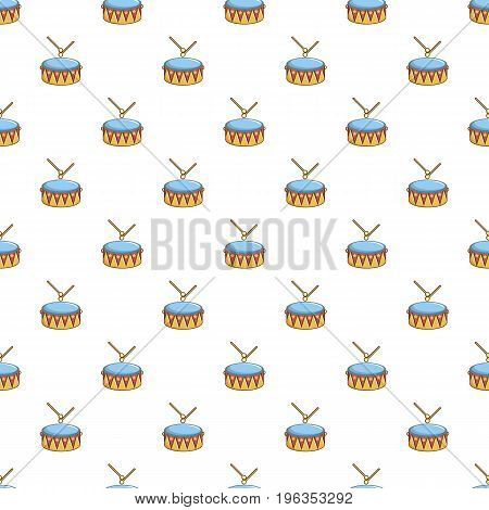 Colorful drum and drumsticks pattern seamless repeat in cartoon style vector illustration