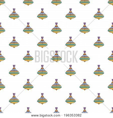 Colorful spinning top pattern seamless repeat in cartoon style vector illustration