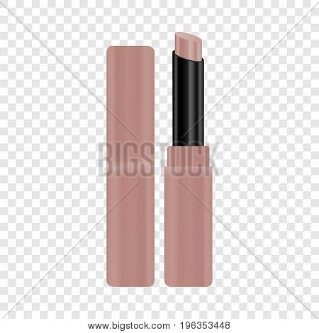 Open tube of pink lipstick mockup. Realistic illustration of open tube of pink lipstick vector mockup for web
