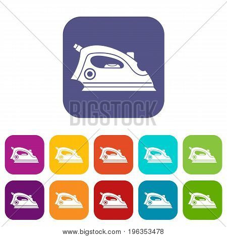 Iron icons set vector illustration in flat style in colors red, blue, green, and other
