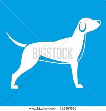 Dog icon white isolated on blue background vector illustration