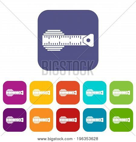 Measuring centimeter icons set vector illustration in flat style in colors red, blue, green, and other