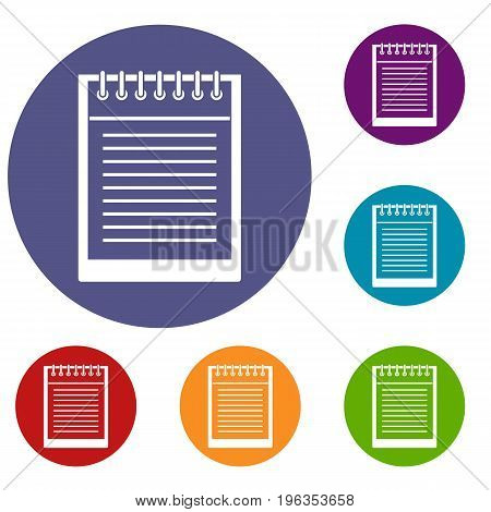 Spiral notepad icons set in flat circle red, blue and green color for web