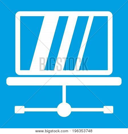 Laptop icon white isolated on blue background vector illustration