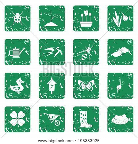 Spring icons set in grunge style green isolated vector illustration
