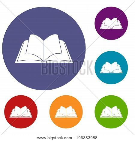 Opened book with pages fluttering icons set in flat circle red, blue and green color for web