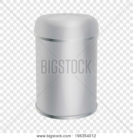 Blank container cylinder shape mockup. Realistic illustration of plastic container cylinder shape vector mockup for web