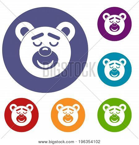 Sleeping teddy bear icons set in flat circle red, blue and green color for web