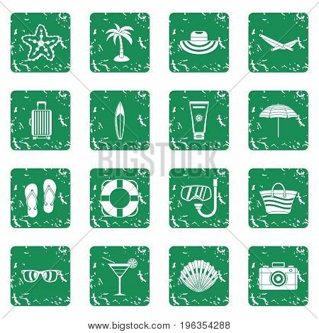 Summer rest icons set in grunge style green isolated vector illustration