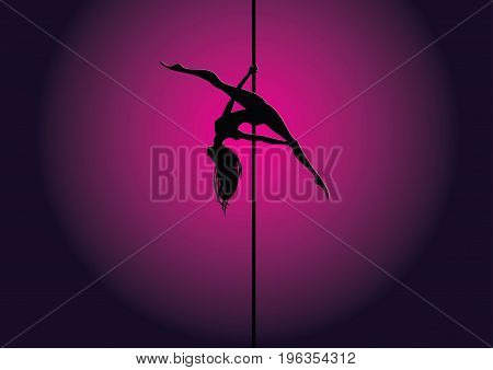 Vector illustration of pole dancer silhouette in position called Allegra