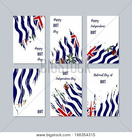 Biot Patriotic Cards For National Day. Expressive Brush Stroke In National Flag Colors On White Card
