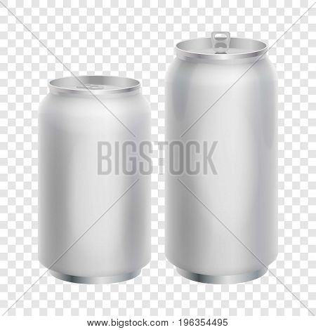 Two blank aluminum cans mockup. Realistic illustration of aluminum cans vector mockup for web