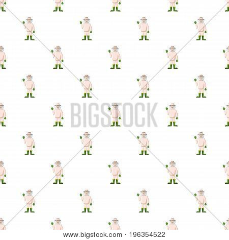 Beekeeper pattern seamless repeat in cartoon style vector illustration