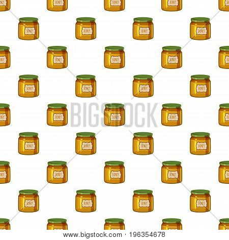 Jar of honey pattern seamless repeat in cartoon style vector illustration