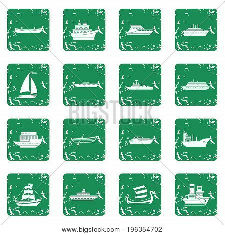 Sea transport icons set in grunge style green isolated vector illustration