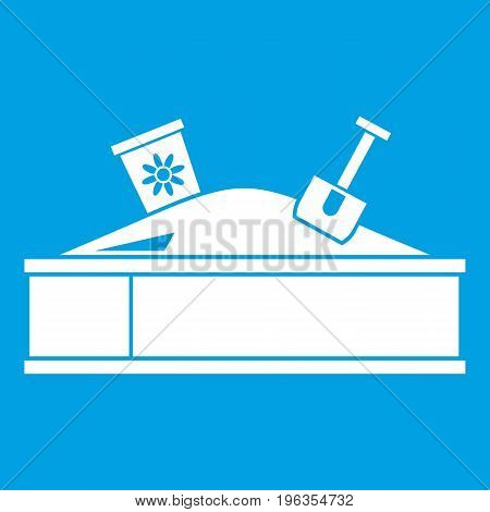 Sandbox with bucket and shovel icon white isolated on blue background vector illustration