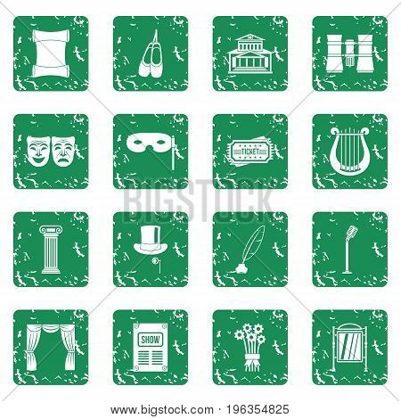 Theater icons set in grunge style green isolated vector illustration