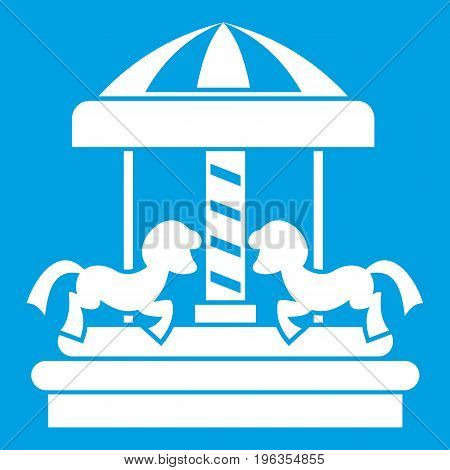 Carousel with horses icon white isolated on blue background vector illustration